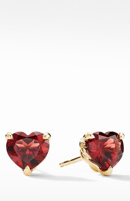 David Yurman Heart Stud Earrings in 18K Yellow Gold with Garnet