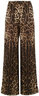 Dolce & Gabbana Elastic Waist Animal Print Trousers