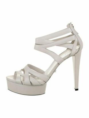 Gucci Leather Platform Sandals White