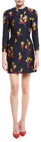Jason Wu Floral-Jacquard 3/4-Sleeve Dress, Dark Topaz/Multi