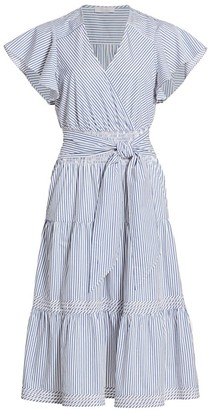 Parker Bessie Stripe Cotton Poplin Ruffle Dress