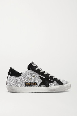 Golden Goose Superstar Glittered Leather And Suede Sneakers - Silver