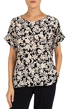 Gerard Darel Netty Floral Print Silk Stretch Top
