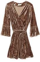 L'Agence Riley Crushed Velvet Wrap Dress In Mink