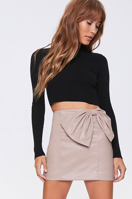 Forever 21 Faux Leather Bow Mini Skirt
