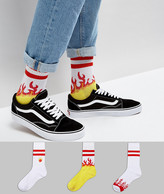Asos Tube Style Socks With Flame Embroidery 3 Pack