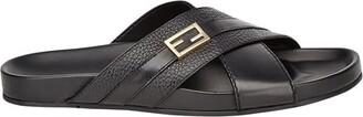 Fendi Black leather slides