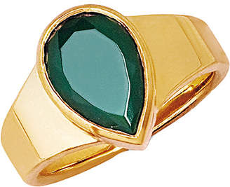 Johnny Was Logan Hollowell 18K Over Silver Green Agate Ring
