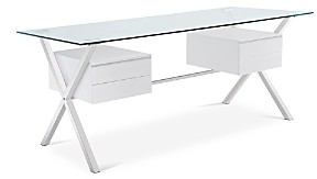 Modway Abeyance Glass Top Office Desk in White