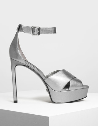 Charles & Keith Satin Platform Heeled Sandals