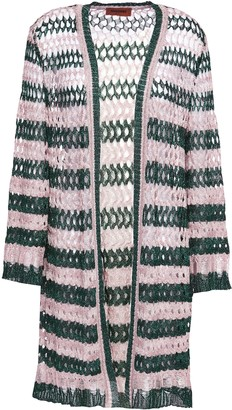 Missoni Metallic Striped Open And Crochet-knit Cardigan