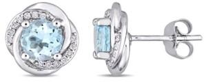 Macy's Blue Topaz (2 ct. t.w.) and Diamond (1/7 ct. t.w.) Swirl Stud Earrings in 10k White Gold