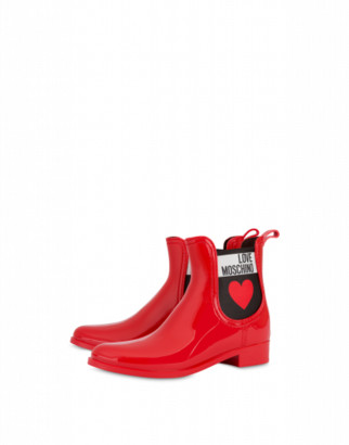 Love Moschino Pvc Rain Boots With Heart Woman Red Size 35 It - (5 Us)