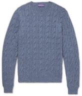 Ralph Lauren Purple Label Mélange Cable-knit Cashmere Sweater - Blue