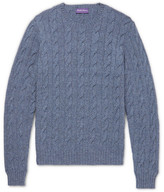 Ralph Lauren Purple Label Mélange Cable-Knit Cashmere Sweater