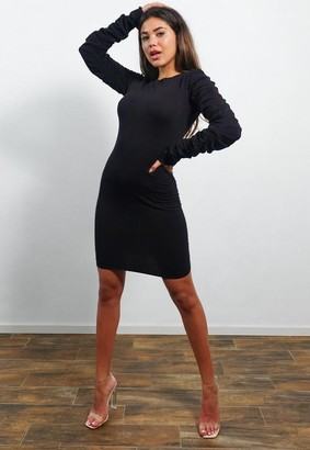 Missguided Black Cut Out Back Ruched Knit Mini Dress