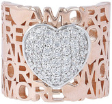 Bronzallure Pave CZ Heart Amore Ring