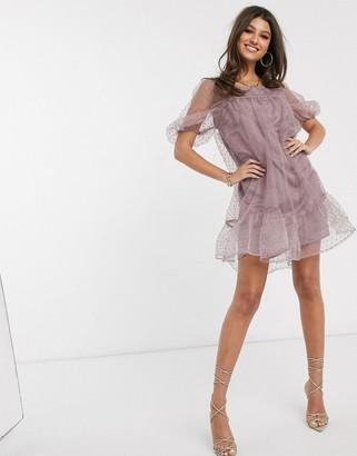 NA-KD dobby organza mini dress in lilac