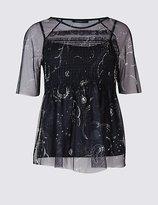 Limited Edition Constellation Print Half Sleeve T-Shirt