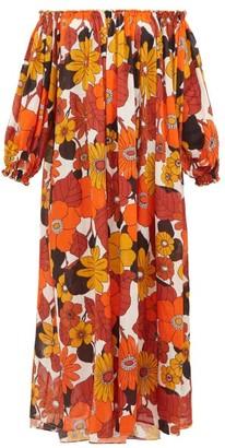 Dodo Bar Or Julie Off-the-shoulder Floral-print Cotton Dress - Womens - Brown Print