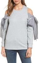 Pleione Petite Women's Cold Shoulder Tie Sleeve Sweatshirt