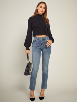 Reformation Liza Button Fly High Rise Straight Jeans