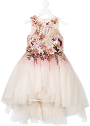 Mischka Aoki Floral-Embellished Tulle Dress