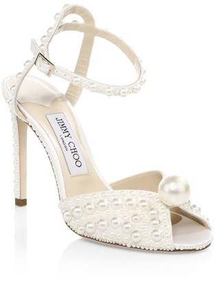 Jimmy Choo Sacora Peep-Toe Embellished Satin Sandals