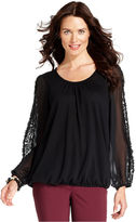 Alfani Top, Long-Sleeve Lace Blouson