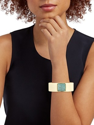 Gas Bijoux Arty 24K Goldplated, Acetate & Amazonite Hinged Cuff Bracelet