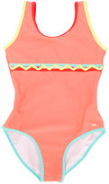 Chloé Kids - zig zag detail swimsuit - kids - Polyamide/Polyester/Spandex/Elastane - 2 yrs