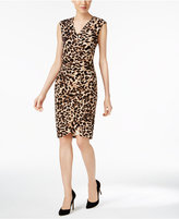 Calvin Klein Animal-Print Faux-Wrap Sheath Dress