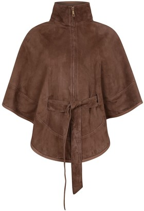 Zut London Suede Leather Cape With Belt - Taupe