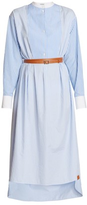 Loewe Stripe Shirtdress & Leather Belt