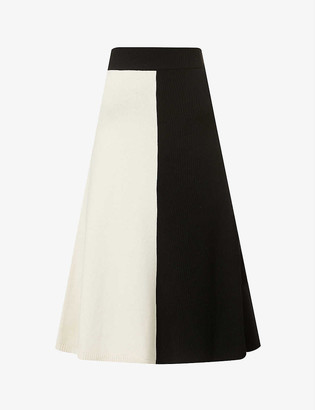 Joseph Two-tone high-waist wool midi skirt