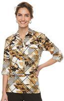Dana Buchman Women's Sateen Roll-Tab Shirt