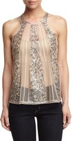 Romeo & Juliet Couture Embellished Mesh Tank, Beige