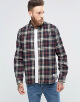 Penfield Harmon Check Button Shirt In Regular Fit Brushed Cotton