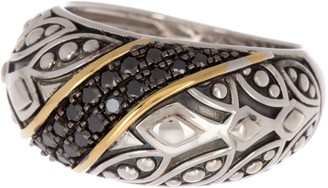 Effy Sterling Silver & 18K Gold Black Diamond Ring - 0.31 ctw - Size 7
