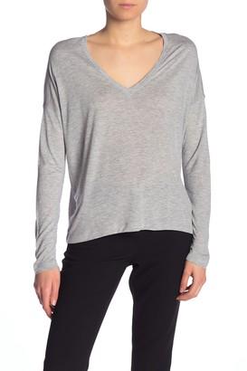 Vince Heathered V-Neck Dolman Long Sleeve T-Shirt