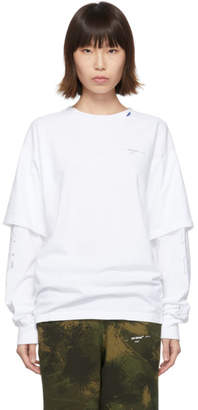 Off-White Off White White Diag Unfinished Long Sleeve T-Shirt