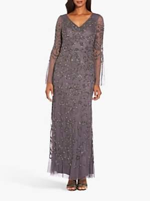 Adrianna Papell Beaded Mesh Dress, Moonscape