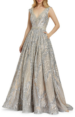 Mac Duggal Sequin A-Line Gown