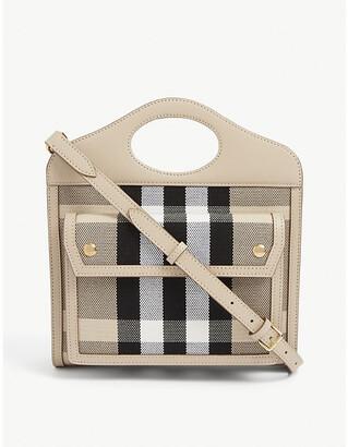 Burberry Pocket mini checked canvas shoulder bag