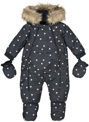 La Redoute Collections Star Print Hooded All-In-One, 1 Month-2 Years
