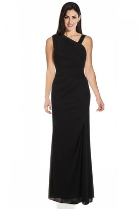 Adrianna Papell Asymmetrical Shirred Gown In Midnight