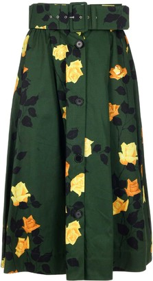 MSGM Floral Buttoned A-Line Skirt
