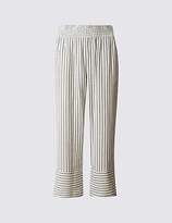 M&S Collection Pure Cotton Striped Slim Cropped Trousers