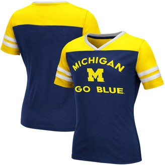 Colosseum Girls Youth Navy Michigan Wolverines Faboo V-Neck T-Shirt