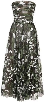 Oscar de la Renta Strapless Floral Dress